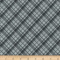 Kaufman Metallic Winter's Grandeur 8 Plaid Silver