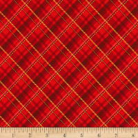 Kaufman Metallic Winter's Grandeur 8 Plaid Red