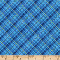 Kaufman Metallic Winter's Grandeur 8 Plaid Blue