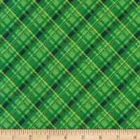 Kaufman Metallic Winter's Grandeur 8 Plaid Green