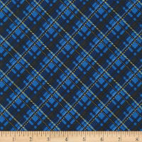 Kaufman Metallic Winter's Grandeur 8 Plaid Navy