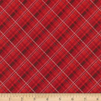Kaufman Metallic Winter's Grandeur 8 Plaid Scarlet