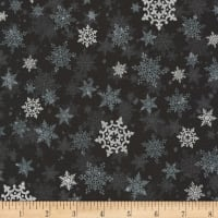 Kaufman Metallic Winter's Grandeur 8 Snowflakes Ebony
