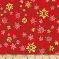 Kaufman Metallic Winter's Grandeur 8 Snowflakes Red