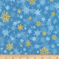 Kaufman Metallic Winter's Grandeur 8 Snowflakes Blue