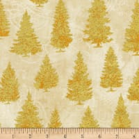 Kaufman Metallic Winter's Grandeur 8 Pine Trees Ivory