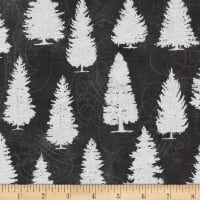 Kaufman Metallic Winter's Grandeur 8 Pine Trees Ebony