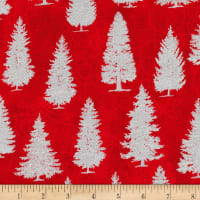 Kaufman Metallic Winter's Grandeur 8 Pine Trees Scarlet