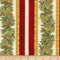 Kaufman Metallic Winter's Grandeur 8 Stripes Holiday