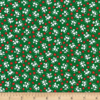 Kaufman Yuletide Bells Christmas Bells and Stars Green