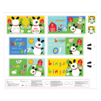 "Huggable & Loveable 8 Bingo Book 35.75"" Panel Multi"