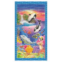 "Sea World Sea Creature Banner 24"" Panel Royal"