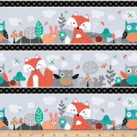 Owl's Woodland Adventure Novelty Woodland Stripe Grey