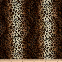 Fabric Base Velboa Smooth Wave Prints Leopard Brown