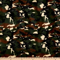 Fabric Base Velboa Smooth Wave Prints Camouflage Green