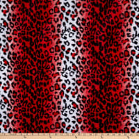 Fabric Base Velboa Smooth Wave Prints Leopard Red / White