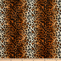 Fabric Base Velboa Smooth Wave Prints Leopard Copper