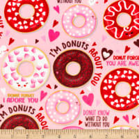 Shannon Studio Digital Minky Cuddle Love Donuts Pink