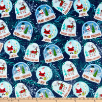 Shannon Studio Digital Minky Cuddle Snow Globes Navy