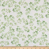 In The Beginning Fabrics Pretty In Pink Green Leaves White