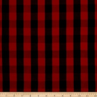 Girl Charlee Cotton Jersey Knit Buffalo Plaid Black Red