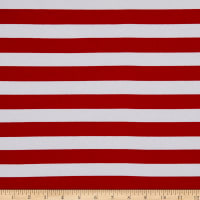 Girl Charlee Cotton Stretch Jersey Knit Stripe Red And White