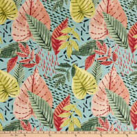 Martinique Digital Tropical Print Basketweave Coral