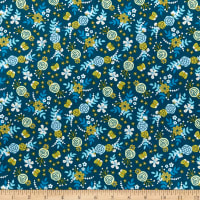 Felicity Fabrics Summer Garden Flowers & Butterflies Blueberry