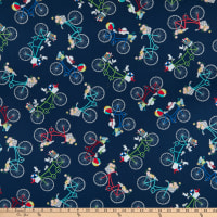 Maywood Studio Vintage Boardwalk Bicycles Navy Blue