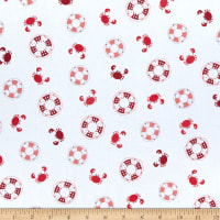 Maywood Studio Vintage Boardwalk Preservers & Crabs Ultra White/Red