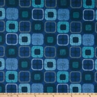 "Geo-Square 108"" Wide Back Digital  Squares Navy"