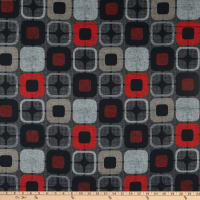 "Geo-Square 108"" Wide Back Digital  Squares Black/Red"