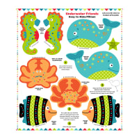 "Snuggle Pillows 36"" Panel Underwater Friends"