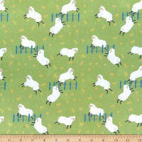 Stoffabric Denmark Sheepy Friends Digital Jumping Sheep Green