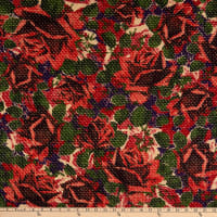 Italian Designer Wool Blend Boucle Floral Red/Beige/Brown