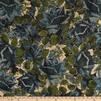 Italian Designer Wool Blend Boucle Floral Teal/Charcoal
