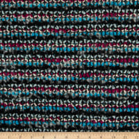 Italian Chanel Designer Wool Boucle White/Aqua/Charcoal/Black/Magenta