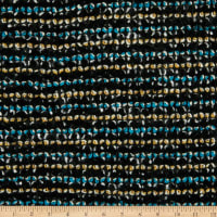 Italian Designer Wool Boucle Knit Stripes White/Yellow/Black/Charcoal/Aqua