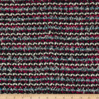 Italian Chanel Designer Wool Boucle Stretch Knit Magenta/Blue/White/Navy