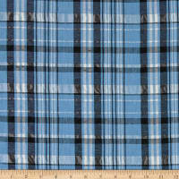 Italian Designer Linen Blend Shirting Plaid Blue/White/Black