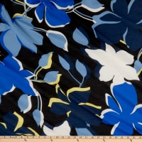 Italian Designer Silk/Cotton Lawn Sky White/Blue/Yellow/Black