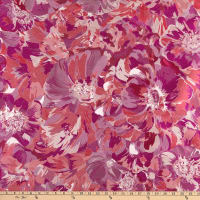 French Designer Jacquard Floral Claret Red/ Fuchsia/Red/Lilac