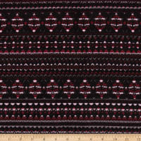 Italian Designer Jacquard Knit Geo Stripes Red/Black/Maroon