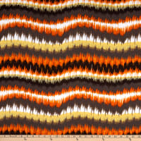 French Designer Viscose Batiste Ikat Stripes Orange/Brown