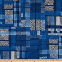 Italian Designer Viscose Challis Plaid Blue/Black