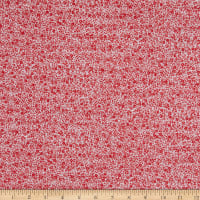 Italian Designer Viscose Faille Ditsy Flowers White/Red