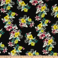 German Designer Viscose Crepe de Chine Floral Pink/Yellow/Black