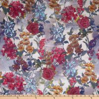 Italian Designer Viscose Sateen Floral Yellow/Red/Blue/Green/Black/Tan