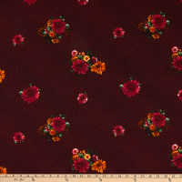 Fabric Merchants Techno Crepe Houndstooth Plaid Vintage Flowers Wine/Black