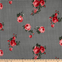 Fabric Merchants Techno Crepe Gingham Roses Black/Coral